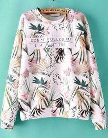 Round Neck Tropicals Print Sweatshirt