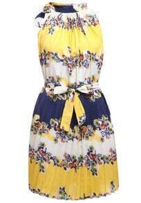 Sleeveless With Belt Florals Pleated Dress