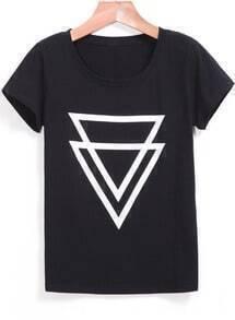 Round Neck Triangle Print Black T-shirt