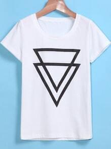 Round Neck Triangle Print White T-shirt