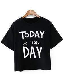 Letters Print Crop Black T-shirt