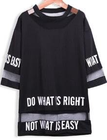 Letters Print Sheer Mesh Loose T-Shirt