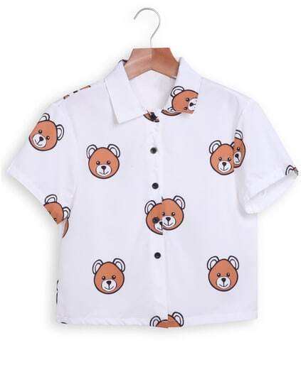 Lapel Bears Print Crop White Blouse