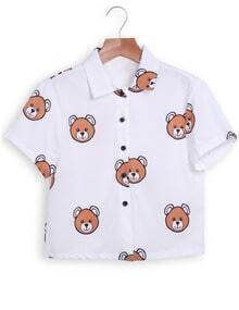 Lapel Bears Print Crop White Blouse