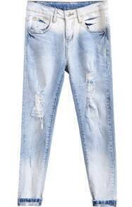 Bleached Ripped Denim Pant