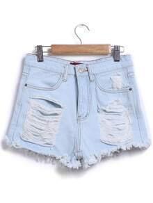 Ripped Fringe Denim Pale Blue Shorts