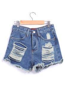 Ripped Fringe Denim Blue Shorts