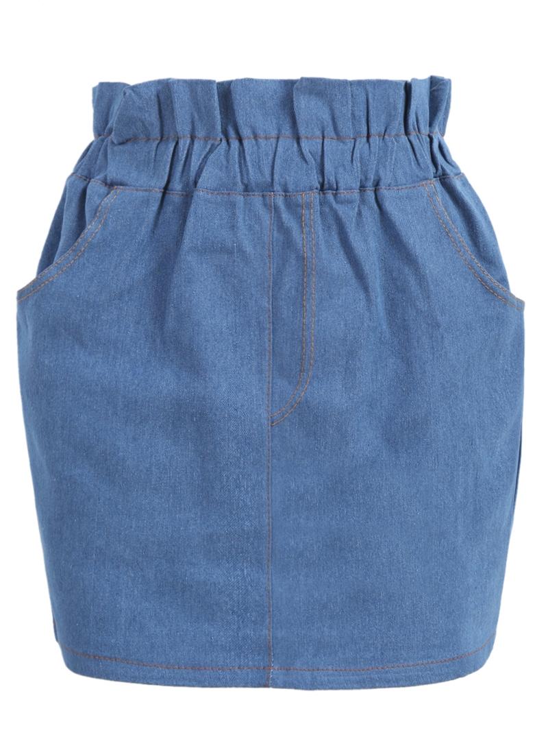 elastic waist pockets denim skirt