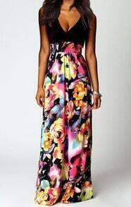 Deep Plunge Neck Florals Maxi Dress