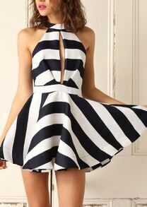 With Zipper Hollow Striped Flare Dress