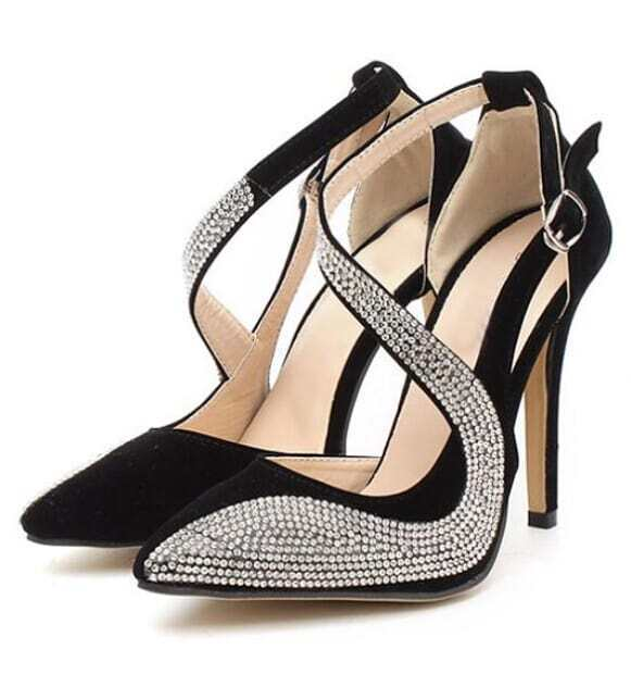 black rhinestone high heel shoes