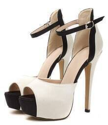 Nude Ankle Strap Peep Toe Stiletto High Heel Shoes
