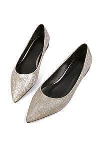 Gold Point Toe Flat Shoes