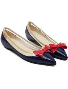 Blue Point Toe With Bow Flat Shoes