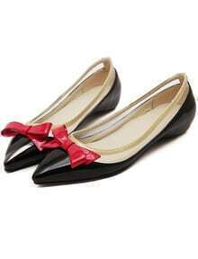 Black Point Toe With Bow Flat Shoes