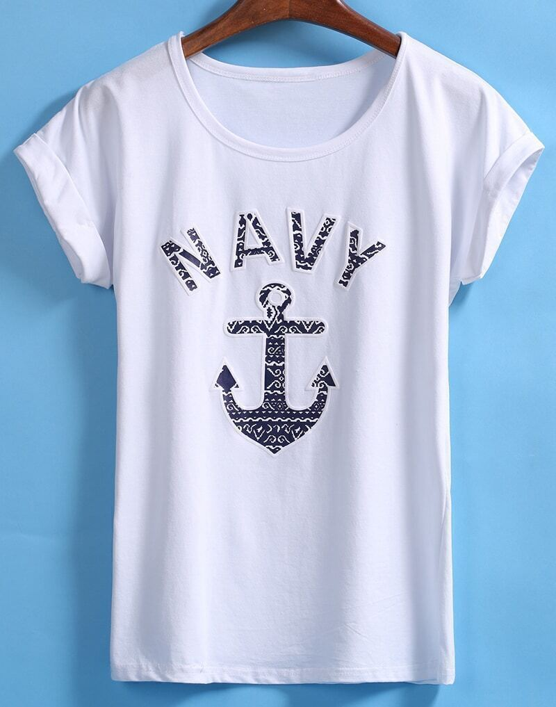White Short Sleeve NAVY Anchors Print T-Shirt