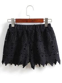 Elastic Waist Asymmetrical Hem Lace Black Shorts