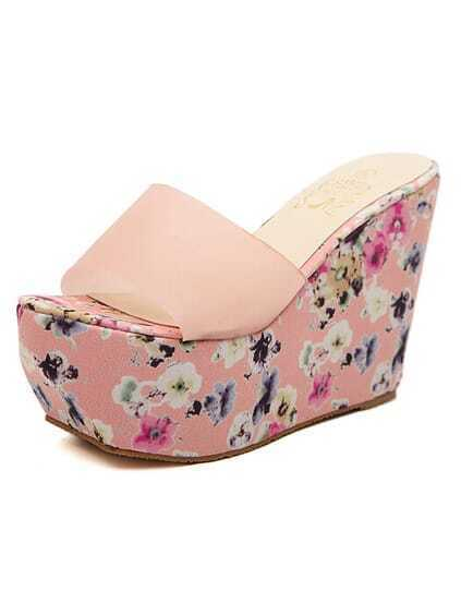 Pink Florals Wedges Sandals