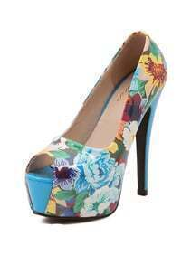 Blue Florals High Heeled Peep Toe Pumps