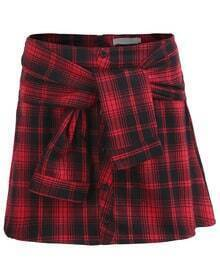 With Buttons Knotted Plaid Skirt