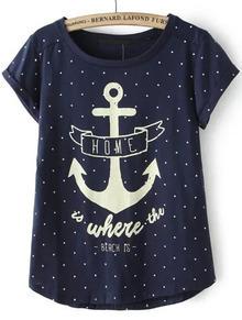 Anchors Print Polka Dot T-shirt