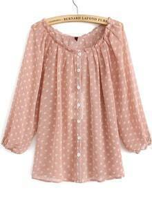 Scoop Neck With Buttons Polka Dot Blouse
