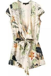 V Neck Florals With Bow Jumpsuit