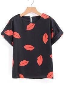 Lips Print Black T-shirt
