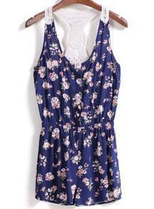 Y-Back Florals Blue Dress