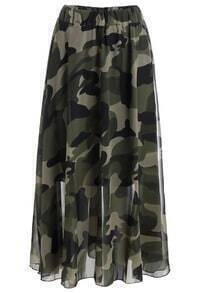 Elastic Waist Camouflage Pleated Skirt