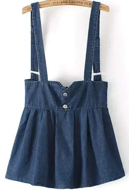 Straps With Zipper Denim Blue Dress
