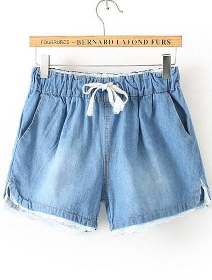 Drawstring Lace Hem Denim Blue Shorts pictures