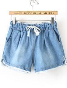Drawstring Lace Hem Denim Blue Shorts