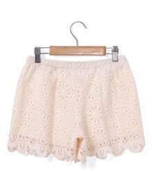 Lace Crochet Irregular Hem Shorts