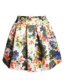 Elastic Waist Florals Pleated Yellow Skirt