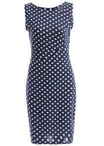 Round Neck Polka Dot Slim Dress