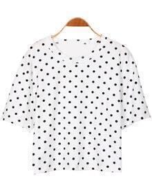 Polka Dot Crop White T-shirt