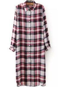 Lapel With Buttons Plaid Long Pink Blouse