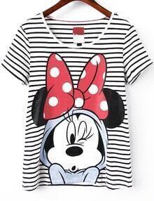 Mickey Mouse Print Striped T-shirt