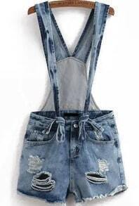 Straps Ripped Denim Jumpsuit