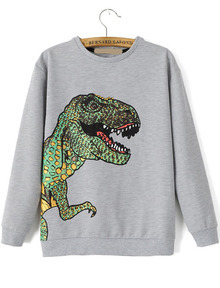 Dinosaur Print Loose Grey Sweatshirt