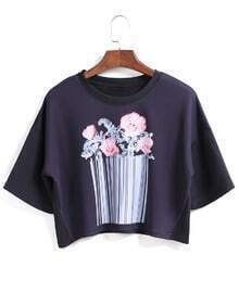 Flower Print Crop Black T-shirt