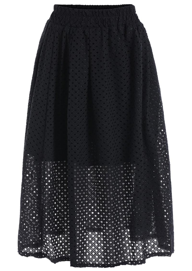 Elastic Waist Hollow Pleated Black Skirt - $11.67