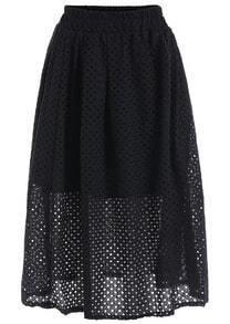 Elastic Waist Hollow Pleated Black Skirt