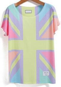 Color-block M Word Print T-shirt