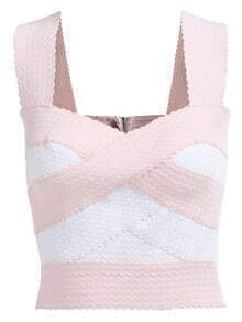 Straps With Zipper Bandage Pink Tank Top