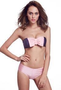 Color-block With Bow Bikini Top