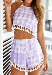 Halter Florals Crop Top With Tassel Purple Shorts