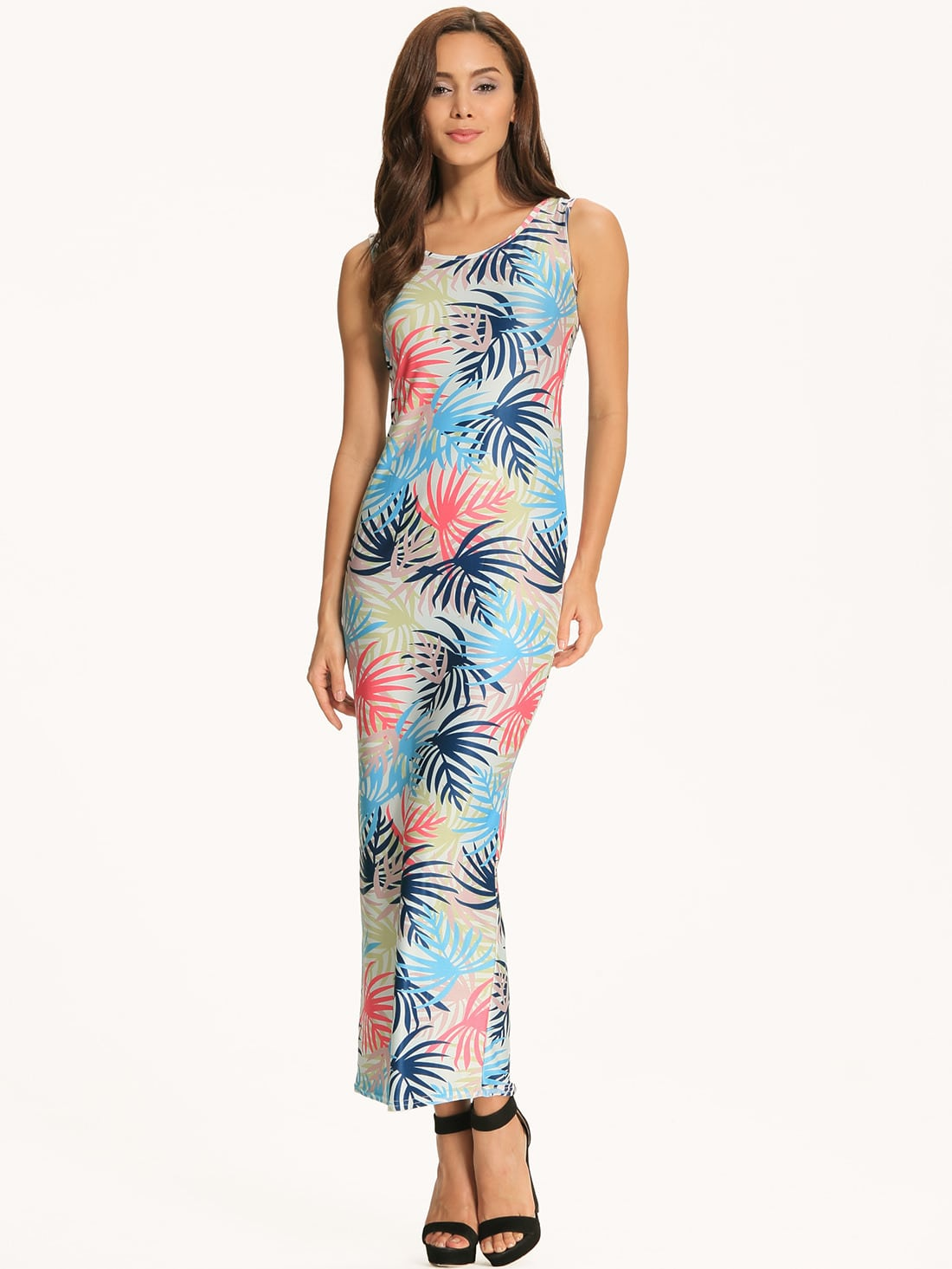 Blue Tropical Print Scoop Neck Maxi Dress - $16.86
