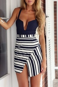 Navy Spaghetti Strap V-cut Striped Asymmetrical Dress